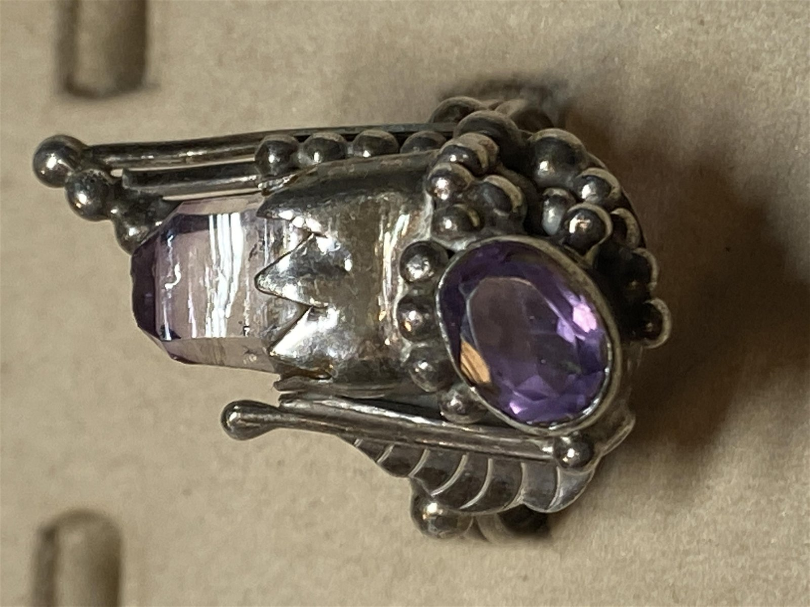 ANTIQUE ART-DECO AMETHYST STERLING SILVER COCKTAIL RING