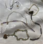 10K & 14K GOLD LOT OF BRACELETS & TANZANITE NECKLACE