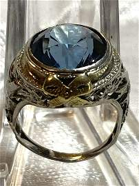 ART DECO 18K GOLD 8 CT AQUAMARINE FILIGREE RING