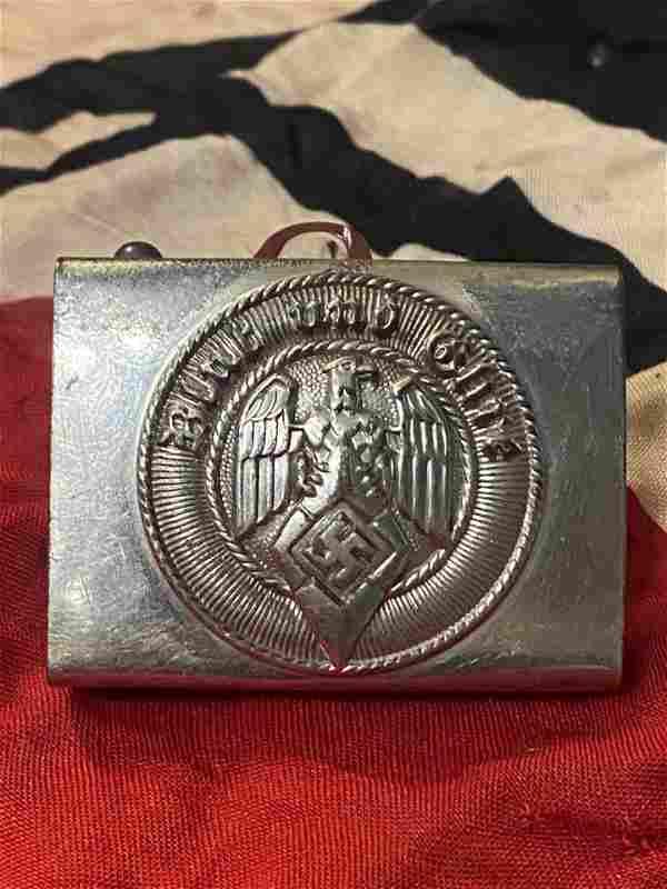 SCARCE WW2 GERMAN HITLER YOUTH BELT BUCKLE W/MAKER