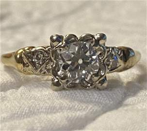 ART DECO 14K GOLD 0.90 CT VS2,H DIAMOND ENGAGEMENT RING