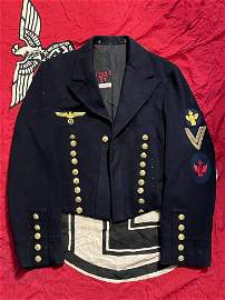 RARE WW2 GERMAN KRIEGSMARINE PEACOAT - ID'D