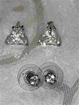 LOT OF (2) PAIRS STERLING SILVER TOPAZ COCKTAIL STUDS