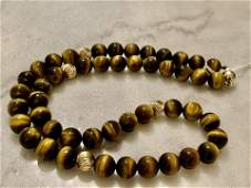 14K GOLD AND TIGER EYE GEMSTONE BEADED NECKLACE