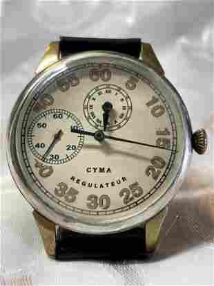 RARE WW2 CYMA REGULATEUR PILOTS LARGE WATCH