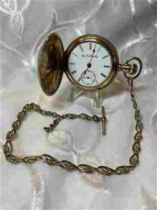 ANTIQUE ELGIN MENS POCKET WATCH W/FOB CHAIN