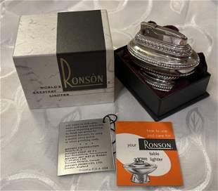 VTG. RONSON QUEEN ANNE DESK LIGHTER W/ORIG. BOX MANUALS