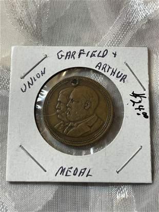 CIVIL WAR J.A. GARFIELD C.A. ARTHUR UNION DOG TAG