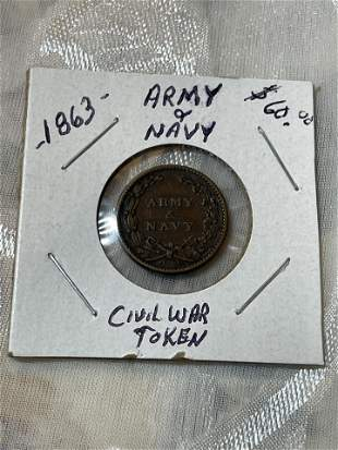CIVIL WAR 1863 ARMY & NAVY TOKEN