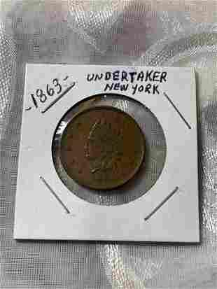 1863 CIVIL WAR UNDERTAKER NY TOKEN