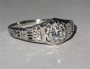 ART DECO 18K GOLD 1.0 CT ROUND DIAMOND WEDDING RING SZ