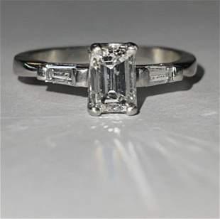 1.0 TCW EMRALD CUT VS1, G DIAMOND PLATINUM WEDDING RING