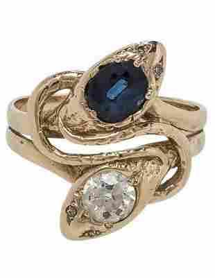 ART DECO 14K GOLD DIAMOND & SAPPHIRE SNAKE RING