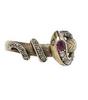 ANTIQUE GOLD, RUBY, & DIAMOND SNAKE RING