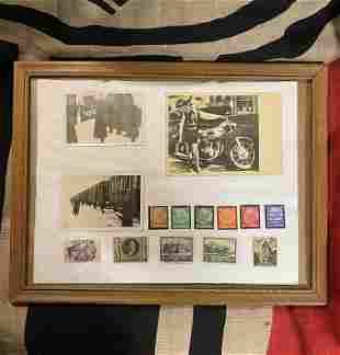 WW2 GERMAN NAZI PHOTOS & STAMPS WALL HANGER