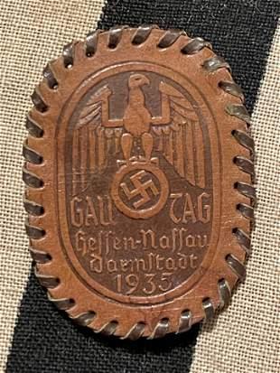 WW2 GERMAN LEATHER TINNIE - GALL TAG 1935