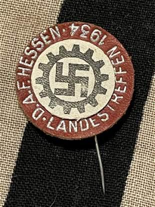 WW2 GERMAN 1934 DAF HESSEN LANDESTREFFEN LEATHER TINNIE