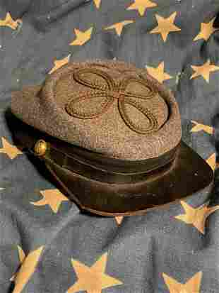 SCARCE CIVIL WAR CONFEDERATE OFFICER KEPI HAT CAP