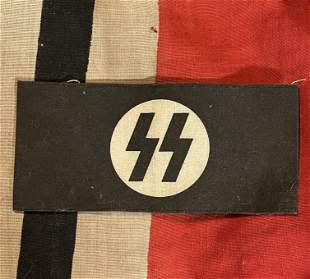 SCARCE WW2 GERMAN WAFFEN SS ARMBAND W/STAMP