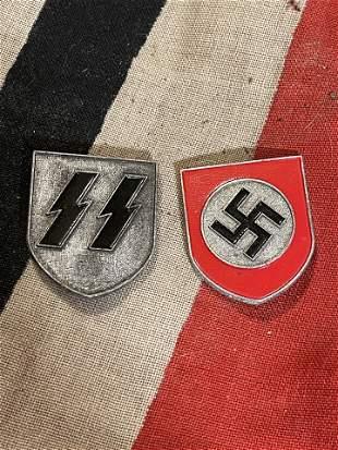 COLLECTION SET OF (2) WW2 GERMAN SS HELMET SHIELD