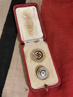 CASED WW2 GERMAN SET OF (2) POLITCAL PINS IN CASE