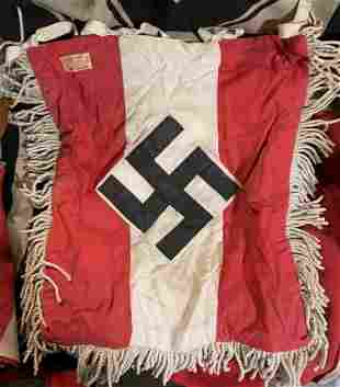 WW2 GERMAN HITLER YOUTH TRUMPET BANNER W/RZM TAGS