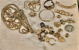 HIGH GRADE ESTATE LOT OF POCKET WATCH FOBS, BROOCHES,