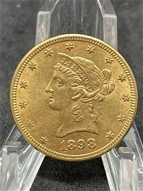 EF 1898 $10 LIBERTY HEAD EAGLE GOLD COIN
