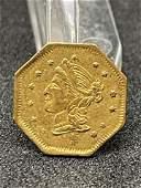 RARE 1869 LIBERTY CALIFORNIA $1 GOLD COIN