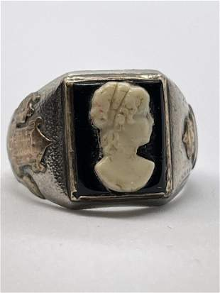 ART DECO STERLING & GOLD CAMEO COCKTAIL RING