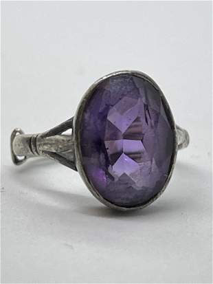 ART DECO STERLING SILVER 5 CT AMETHYST COCKTAIL RING