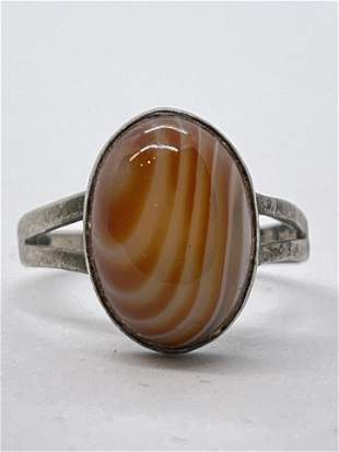 ANTIQUE STERLING SILVER ORANGE AGATE COCKTAIL RING
