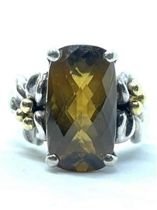 DESIGNER STERLING & 18K GOLD CITRINE COCKTAIL RING