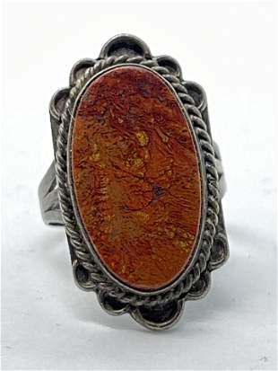 ART DECO RED LAVA AGATE FILIGREE COCKATIL RING