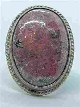 1940'S STERLING SILVER 25 CT ROSE AGATE COCKTAIL RING