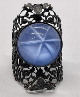VICTORIAN ERA LADIES BLUE STONE ENGRAVED COCKTAIL RING