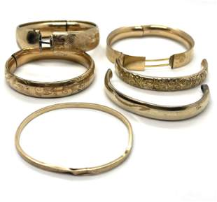 LOT OF ANTIQUE GOLD FILLED BANGLE BRACELETS FOR PARTS