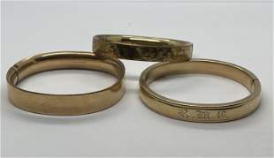 VICTORIAN LOT OF (3) GOLD FILLED BANGLE BRACELETS