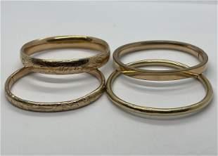 LOT OF (4) VICTORIAN GOLD FILLED BANGLE BRACELETS