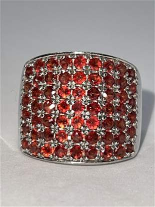 STERLING SILVER 0.50 TCW RUBY COCKTAIL BAND RING