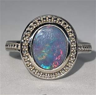 MODERN STERLING SILVER 1.5 CT OVAL OPAL COCKTAIL RING