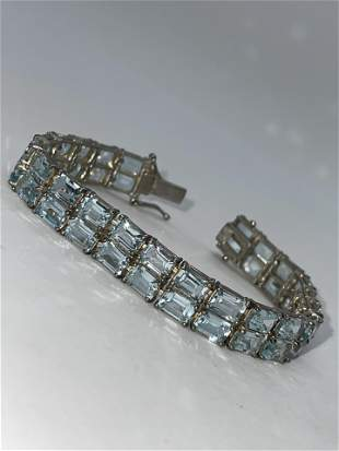 22 TCW SKY BLUE TOPAZ 2-ROW STERLING TENNIS BRACELET