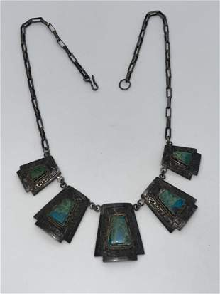 ANTIQUE STERLING SILVER TURQUOISE PERUVIAN NECKLACE