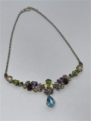 16 TCW MULTI-GEMSTONE COCKTAIL STERLING NECKLACE