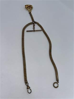 VICTORIAN GOLD FILLED POCKET WATCH CHAIN W/FOB