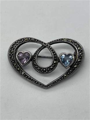 ART DECO STERLING HEART BROOCH W/AMETHYST/TOPAZ