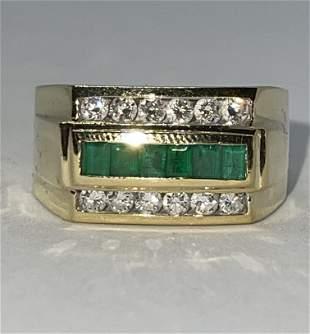 MENS 14K GOLD 1.50 TCW SI1,G DIAMONDS/EMEARLDS RING