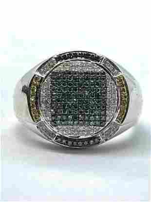 MENS 10K GOLD 1.0 TCW DIAMONDS RING SZ 10.5