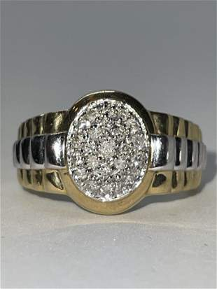 MENS 10K GOLD 0.50 TCW SI,H DIAMONDS ROLEX SHAPE RING