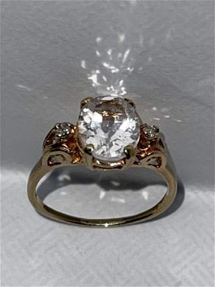 ART DECO 14K GOLD 2 CT SPINEL COCKTAIL RING SZ 7